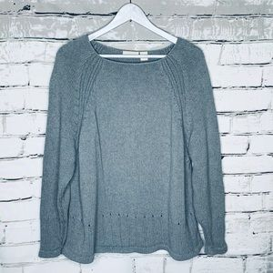 J. Jill Twisted Knit Scoop Neck Cotton Sweater